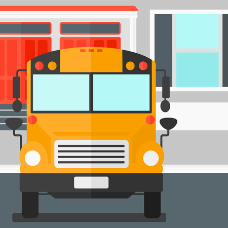 omnibus: Yellow bus on the background of the school building  vector flat design illustration. Square layout.