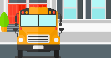 omnibus: Yellow bus on the background of the school building  vector flat design illustration. Horizontal layout. Illustration