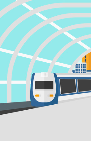 Background of modern train arriving at the station vector flat design illustration. Vertical layout.