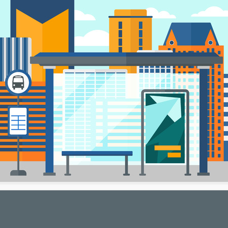 outdoor advertising construction: Background of bus stop with skyscrapers behind vector flat design illustration. Square layout.