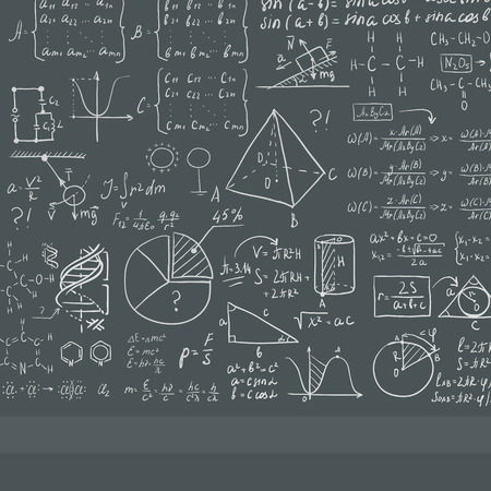 Background of dark grey blackboard with mathematical equations vector flat design illustration. Square layout.
