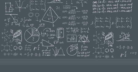 equations: Background of dark grey blackboard with mathematical equations vector flat design illustration. Horizontal layout.