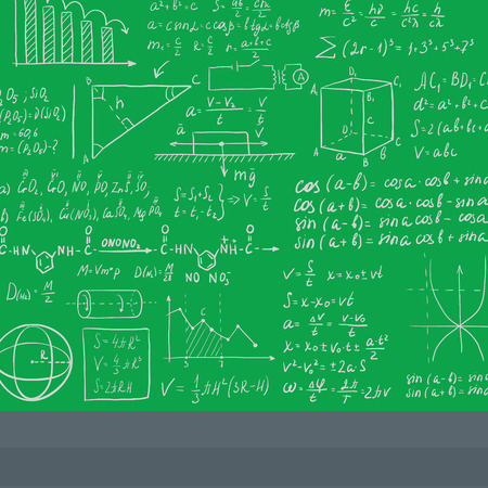 Background of green blackboard with mathematical equations vector flat design illustration. Square layout.