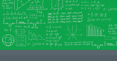 Background of green blackboard with mathematical equations vector flat design illustration. Horizontal layout. Illustration
