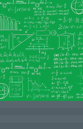 Background of green blackboard with mathematical equations vector flat design illustration. Vertical layout.