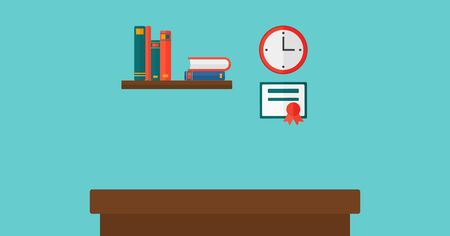 Background of interior of room for a pupil  vector flat design illustration. Horizontal layout. 向量圖像