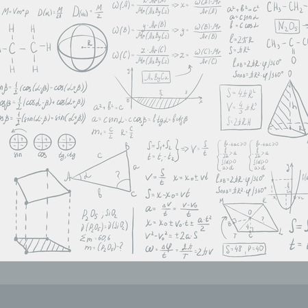 cosine: Background of white blackboard with mathematical equations vector flat design illustration. Square layout.