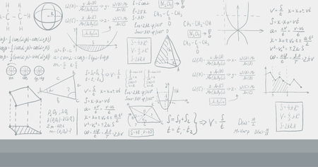 derivation: Background of white blackboard with mathematical equations vector flat design illustration. Horizontal layout. Illustration