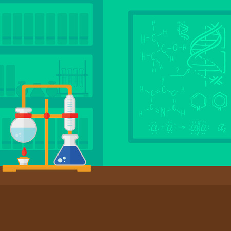 Background of chemistry laboratory vector flat design illustration. Square layout.