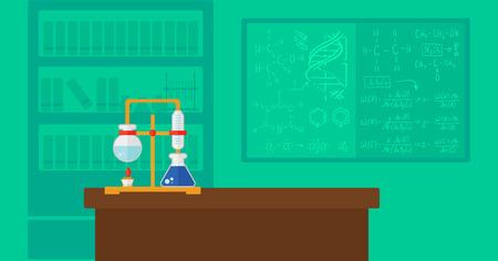 Background of chemistry laboratory vector flat design illustration. Horizontal layout.