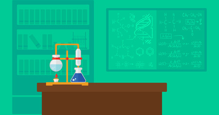science class: Background of chemistry laboratory vector flat design illustration. Horizontal layout.