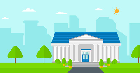 cartoon graduation: Background of educational building vector flat design illustration. Horizontal layout.