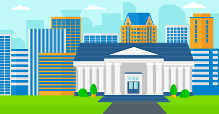 school illustration: Background of educational building vector flat design illustration. Horizontal layout.