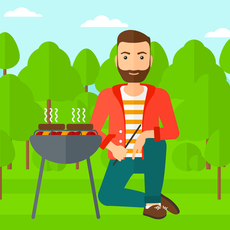 forest trees: A hipster man with the beard sitting next to barbecue grill in the forest vector flat design illustration. Square layout. Illustration