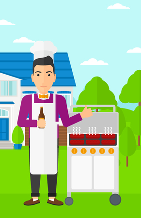 front yard: A man standing next to barbecue grill in the yard in front of house and holding a bottle in hand and showing thumb up vector flat design illustration. Vertical layout.