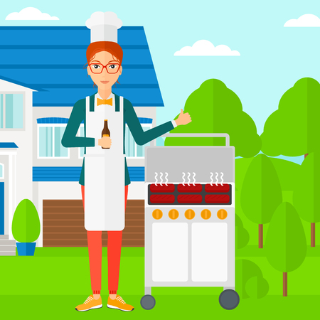 front yard: Woman standing next to barbecue grill in the yard in front of house and holding a bottle in hand and showing thumb up vector flat design illustration. Square layout.