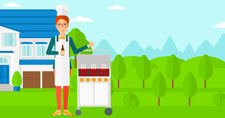 Woman standing next to barbecue grill in the yard in front of house and holding a bottle in hand and showing thumb up vector flat design illustration. Horizontal layout. Иллюстрация