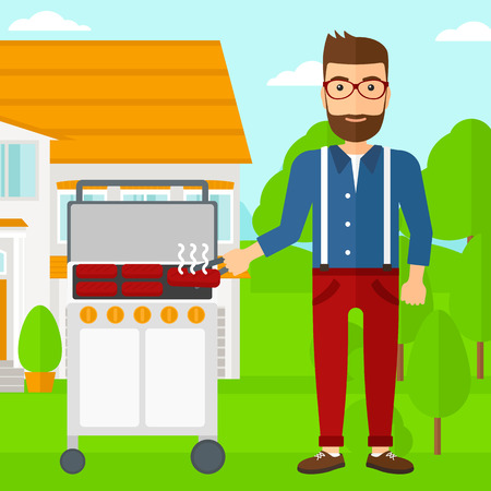 front yard: A hipster man with the beard preparing barbecue in the yard in front of house vector flat design illustration. Square layout.