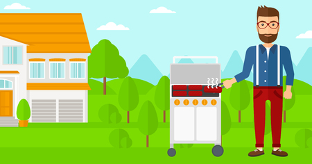 preparing: A hipster man with the beard preparing barbecue in the yard in front of house vector flat design illustration. Horizontal layout.