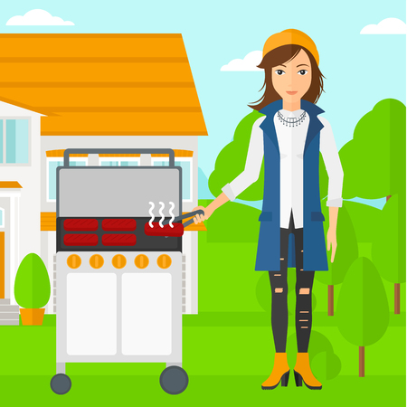 yard: A woman preparing barbecue in the yard in front of house vector flat design illustration. Square layout. Illustration