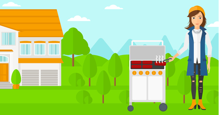 preparing: A woman preparing barbecue in the yard in front of house vector flat design illustration. Horizontal layout. Illustration