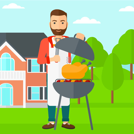front yard: A hipster man with the beard cooking chicken on barbecue in the yard in front of house vector flat design illustration. Square layout. Illustration