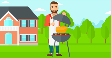 front yard: A hipster man with the beard cooking chicken on barbecue in the yard in front of house vector flat design illustration. Horizontal layout.