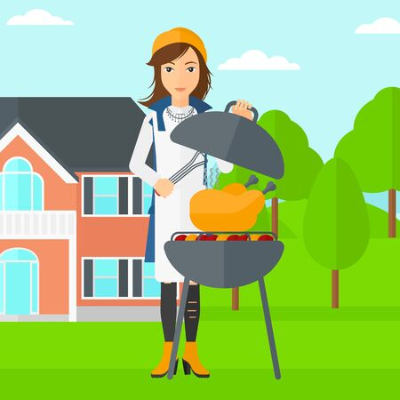 yard: A woman cooking chicken on barbecue in the yard in front of house vector flat design illustration. Square layout. Illustration