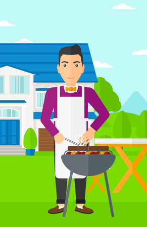 front yard: A man preparing barbecue in the yard in front of house vector flat design illustration. Vertical layout. Illustration