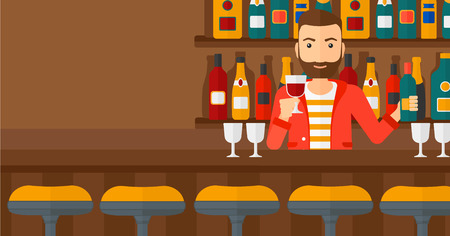 bar counter: Bartender standing at the bar counter and holding a bottle and a glass in hands vector flat design illustration. Horizontal layout. Illustration