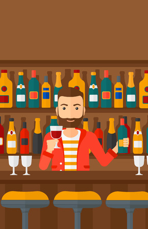 bar counter: Bartender standing at the bar counter and holding a bottle and a glass in hands vector flat design illustration. Vertical layout.
