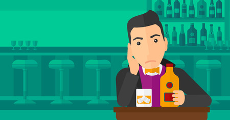 sorrowful: A sad man sitting at the table with a bottle and a glass at the bar vector flat design illustration. Horizontal layout.