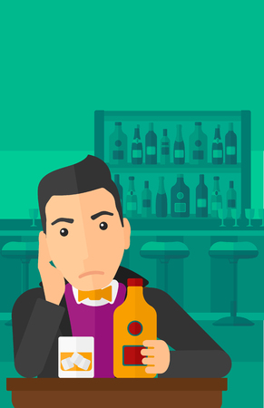 vertical bar: A sad man sitting at the table with a bottle and a glass at the bar vector flat design illustration. Vertical layout.