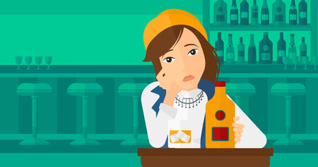 A sad woman sitting at the table with a bottle and a glass at the bar vector flat design illustration. Horizontal layout.