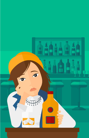 sorrowful: A sad woman sitting at the table with a bottle and a glass at the bar vector flat design illustration. Vertical layout.