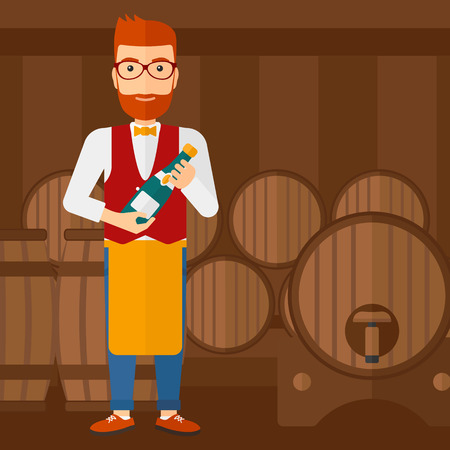 wine cellar: A waiter standing in wine cellar and holding a bottle in hands vector flat design illustration. Square layout.