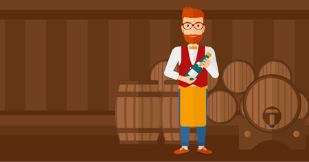 A waiter standing in wine cellar and holding a bottle in hands vector flat design illustration. Horizontal layout.