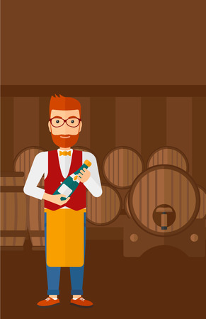 wine cellar: A waiter standing in wine cellar and holding a bottle in hands vector flat design illustration. Vertical layout. Illustration