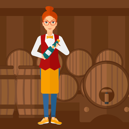 wine cellar: A waitress standing in wine cellar and holding a bottle in hands vector flat design illustration. Square layout.