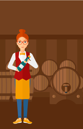 A waitress standing in wine cellar and holding a bottle in hands vector flat design illustration. Vertical layout. Illustration