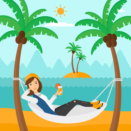 cartoon palm tree: A woman chilling in hammock on the beach with a cocktail in a hand vector flat design illustration. Square layout. Illustration