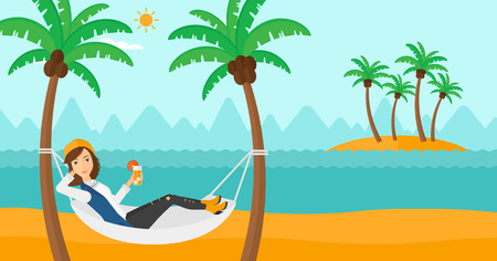 A woman chilling in hammock on the beach with a cocktail in a hand vector flat design illustration. Horizontal layout.