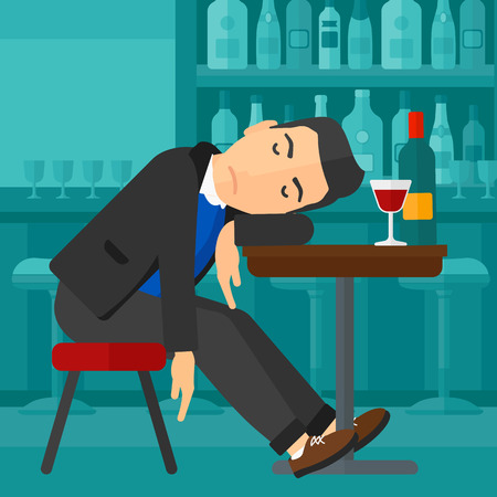 intoxicated: A man sleeping at the bar at the table with a glass and a bottle on it vector flat design illustration. Square layout. Illustration