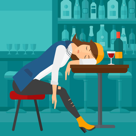 A woman sleeping at the bar at the table with a glass and a bottle on it vector flat design illustration. Square layout.