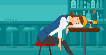 A woman sleeping at the bar at the table with a glass and a bottle on it vector flat design illustration. Horizontal layout.