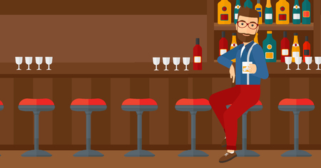 bar counter: A hipster man with the beard sitting near the bar counter and holding a glass vector flat design illustration. Horizontal layout.