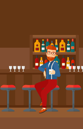 bar counter: A hipster man with the beard sitting near the bar counter and holding a glass vector flat design illustration. Vertical layout.
