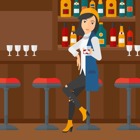 bar counter: A woman sitting near the bar counter and holding a glass vector flat design illustration. Square layout.