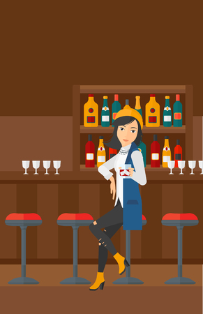 vertical bar: A woman sitting near the bar counter and holding a glass vector flat design illustration. Vertical layout.
