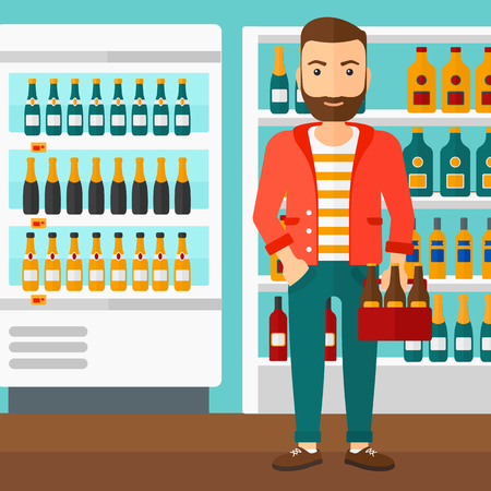 intoxicant: A hipster man with the beard standing in the supermarket and holding a pack of beer vector flat design illustration. Square layout.